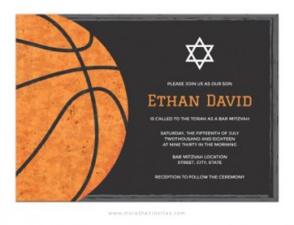 Sports themed Bar Mitzvah invite with basketball