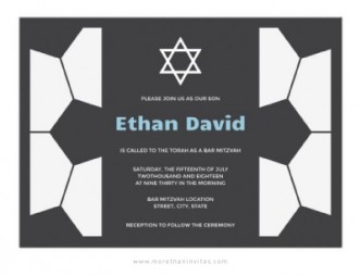 Soccer bar mitzvah invitation with soccer ball pattern