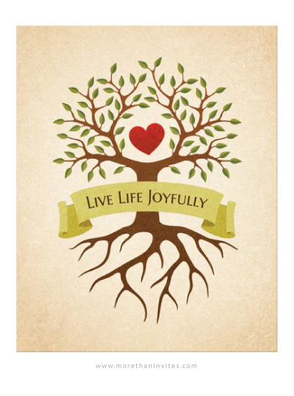 Family wall decor art print with tree, roots, red heart and quote Live Life Joyfully