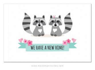 Cute change of address postcards with raccoon couple, pink birds and ribbon banner