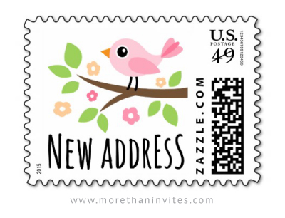 Cute new address / moving announcement US postage stamp with pink bird sitting on a branch ...