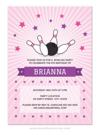 Pink bowling birthday party invite for girls with bowling ball knocking down pins.