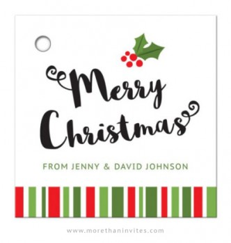 Merry Christmas gift tag with holly and whimsical, red and green stripes border.