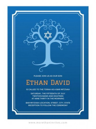 Blue Bar Mitzvah invitation with elegant tree of life and white Star of David