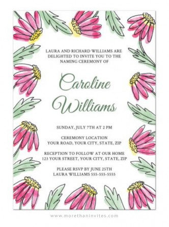 Cute naming ceremony invitation for girls with pink watercolor daisy flowers