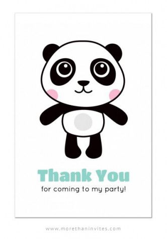 Panda thank you card for kids birthday parties