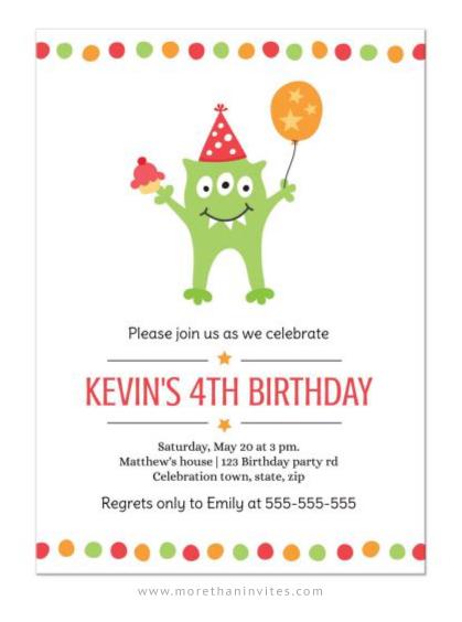 Monster party birthday invitation for children