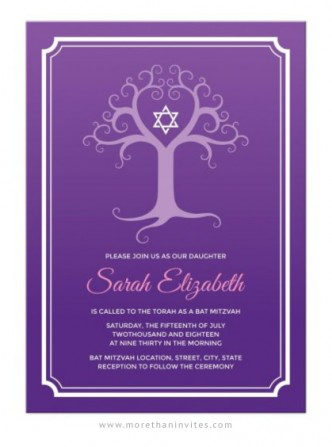 Purple Bat Mitzvah invitation with elegant tree of life.