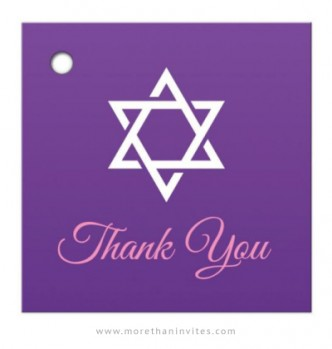 Elegant Bat Mitzvah favor tags with white Star of David on purple gradient background.