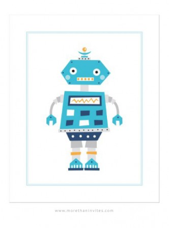 Cute nursery wall art print with retro robot cartoon