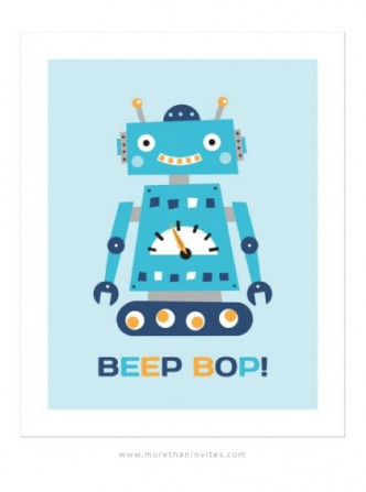 Cute wall art for little boys featuring a little retro robot.