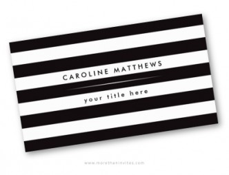 Trendy black and white stripes business cards for women