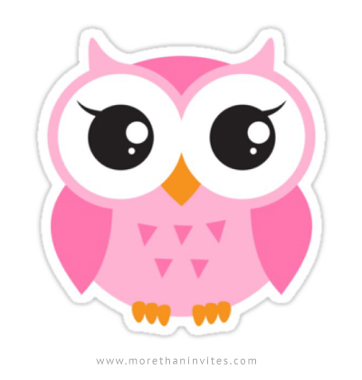 Cute, pink owl sticker - More than invites