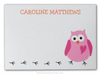 Post-it notes for girls with cute, pink owl and personalized name