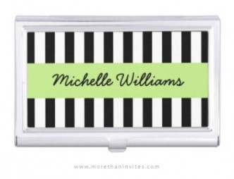 Business card case for women with black and white stripes and personalized name