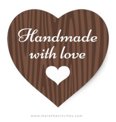 Handmade with love sticker - dark wood grain heart - More ...