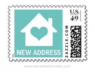 Moving announcement postage stamp with aqua blue heart on a white house outline.