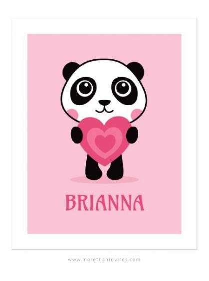 Cute panda holding a pink heart nursery wall art for girls