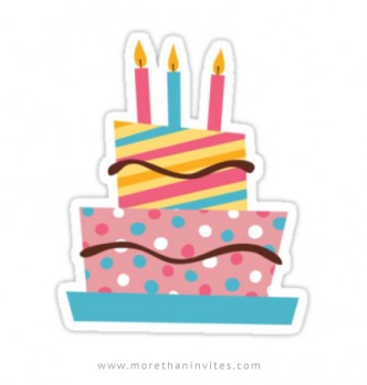 Sticker featuring a cute, retro birthday cake with three candles