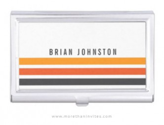 Personalized business card holder for men with retro orange and gray stripes