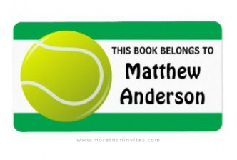 Bookplate for boys with tennis ball