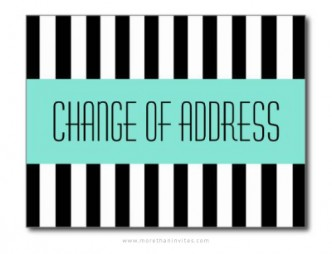 Change of address announcement with trendy black and white stripes