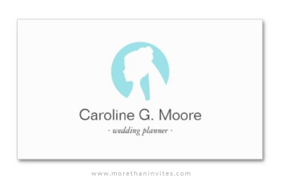 Wedding stylist or planner professional business card with aqua blue bridal logo