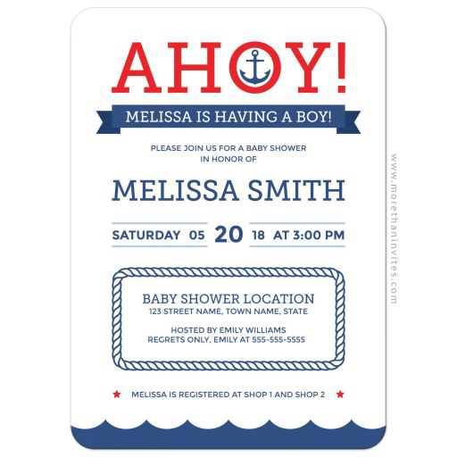 Ahoy! Nautical baby shower invite with anchor and wave border