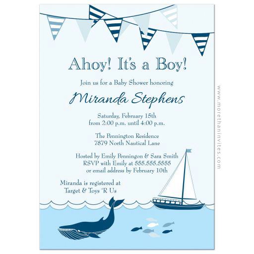 Ahoy its a boy nautical baby shower invite with whale and sailboat