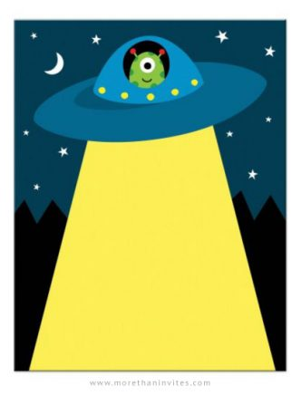 Alien in flying saucer spaceship stationery note card for kids