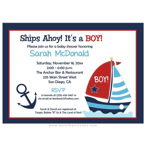 Anchor and Sailboat Nautical Navy and Red Boy Baby Shower Invitation