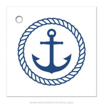 Nautical bridal shower favor thank you tag with anchor inside rope circle and wave border