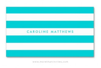 Aqua blue mod stripes professional profile card for women