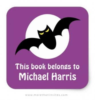 Bat in front of full moon, cute book labels for boys