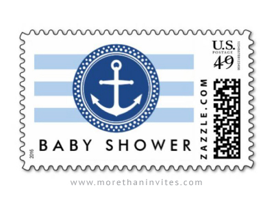 Nautical baby shower postage stamp with anchor emblem and stripes