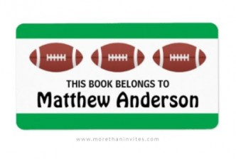 Book labels for school featuring footballs and green borders.