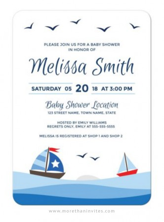 Nautical baby shower invitation with cute sailboats, waves and birds