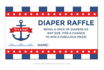 Nautical baby shower diaper raffle ticket with anchor and stripes - it's a boy!