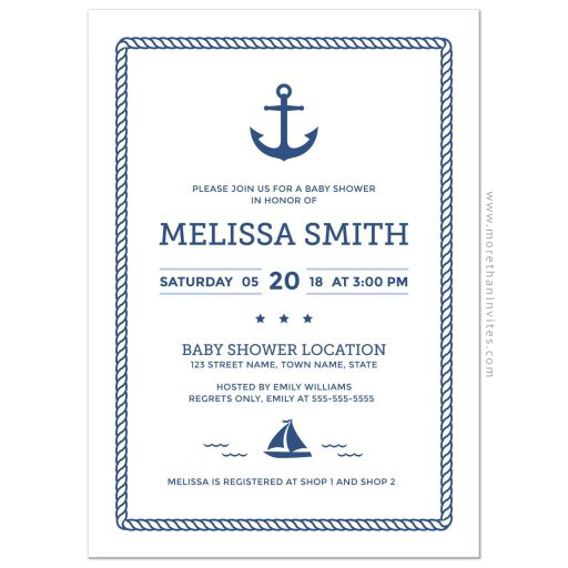 Modern nautical baby shower invitation with anchor and rope border