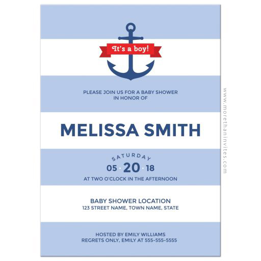 Nautical baby shower invitation with wide blue stripes and anchor
