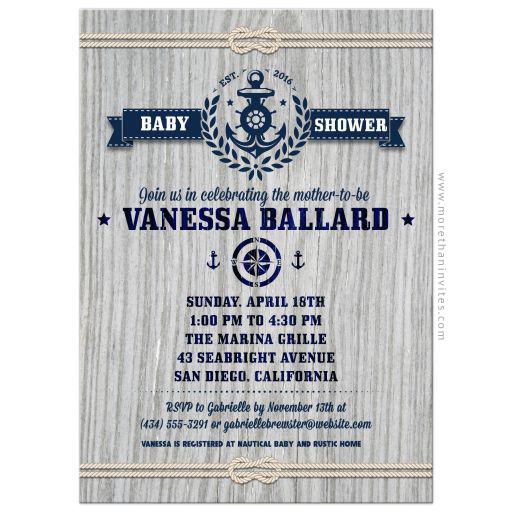 Nautical rustic weathered wood baby shower invitation