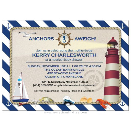 Nautical stripes and sandy lighthouse baby shower invitation