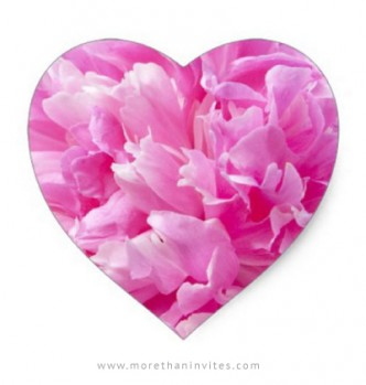 Heart shaped envelope seals with romantic pink peony