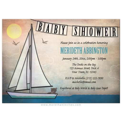 Rustic Nautical Teddy Bear Sailboat baby shower invitation