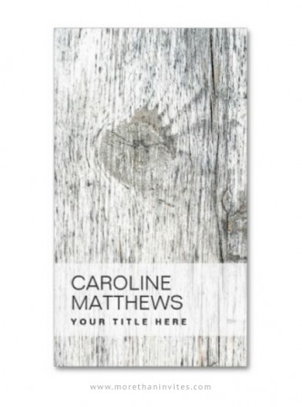 Rustic gray wood interior designer business card