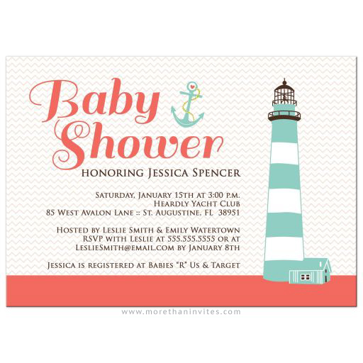 Salmon pink and chevron pattern nautical baby shower invite with lighthouse and anchor