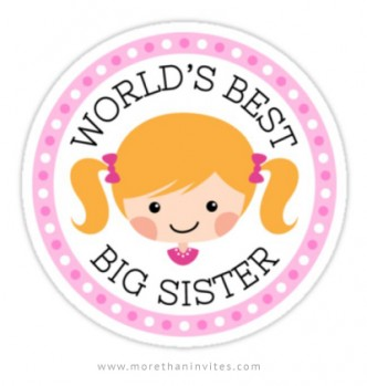 Big sister sticker with cute, blond cartoon girl