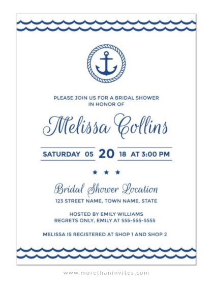Modern and elegant bridal shower invite for nautical themed bridal showers.