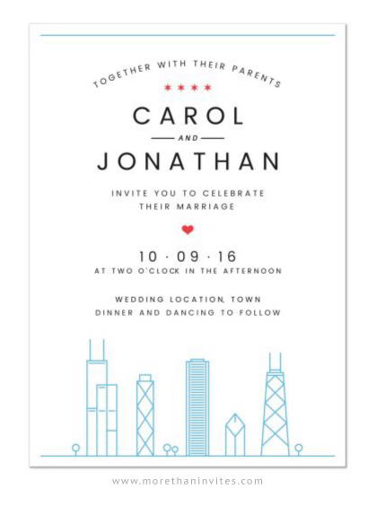 Chicago skyline destination wedding invitation with flag on the back
