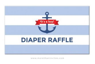 Nautical baby shower diaper raffle ticket.